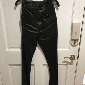 Super soft black leather jeans size 4